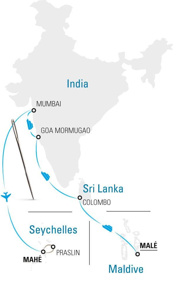 mappa maldive seychelles sri lanka