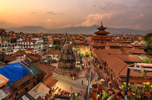 Sunset over Patan Durbar Square in Kathmandu, Nepal