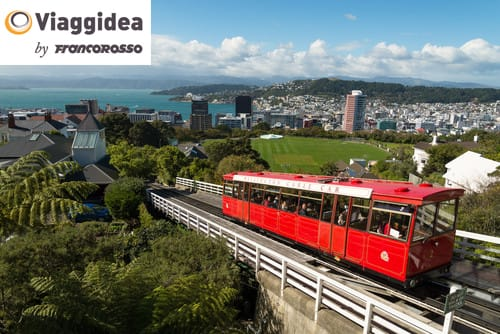 Wellington cable car with city in the background