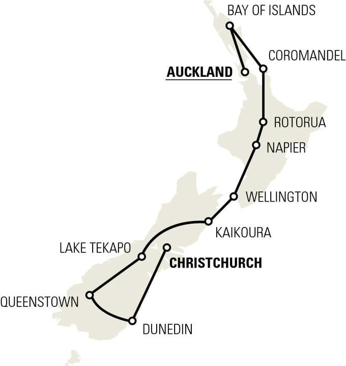 NewZealandAdventure tour map