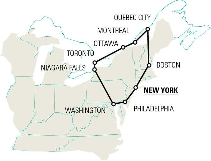 mappa tour STATI UNITI MERAVIGLIE EST