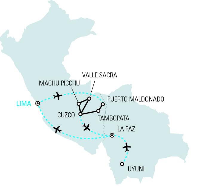 Viaggidea Tour Peru e Bolivia mappa
